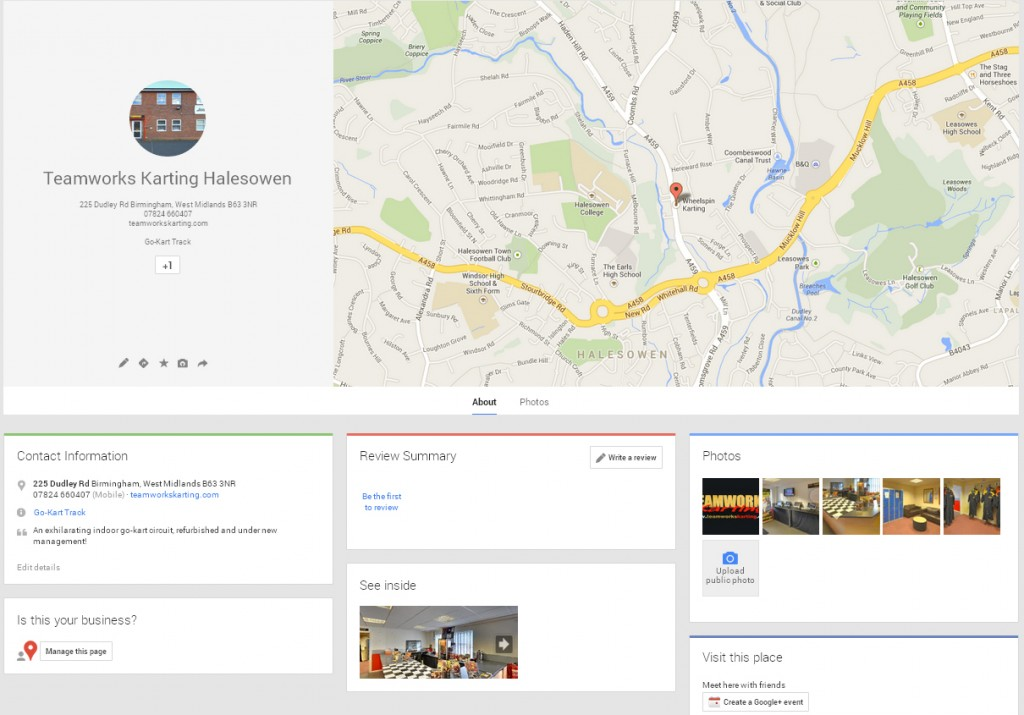 Go Kart Track Google Maps Business View places page