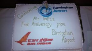 Air India's First Anniversary flying from Birmingham Airport Cake