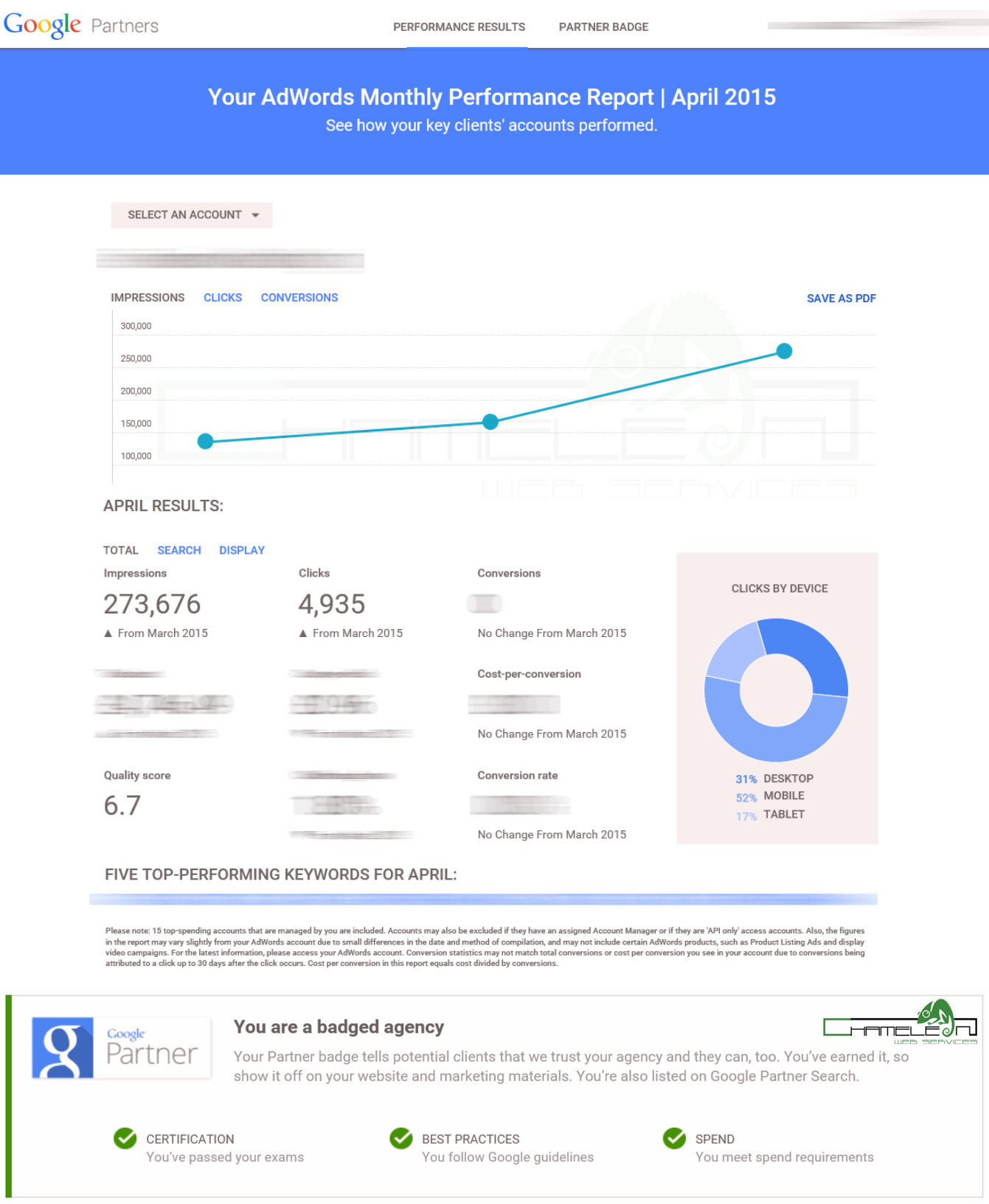 Google Partner Adwords Performance Report