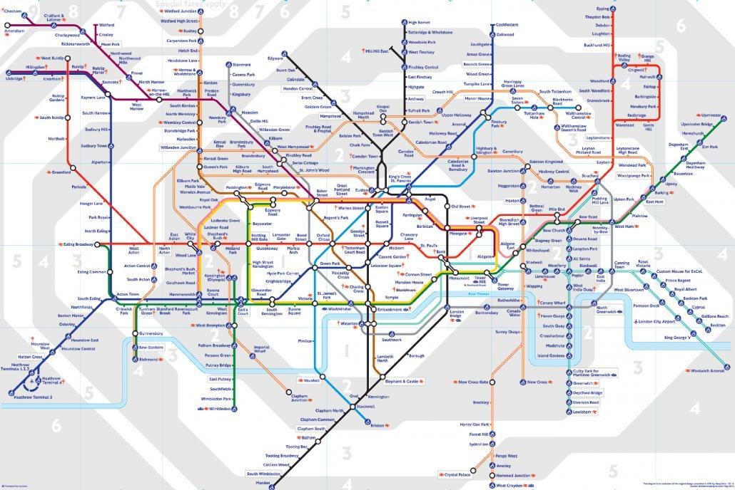 London Tube Map Zones 2015
