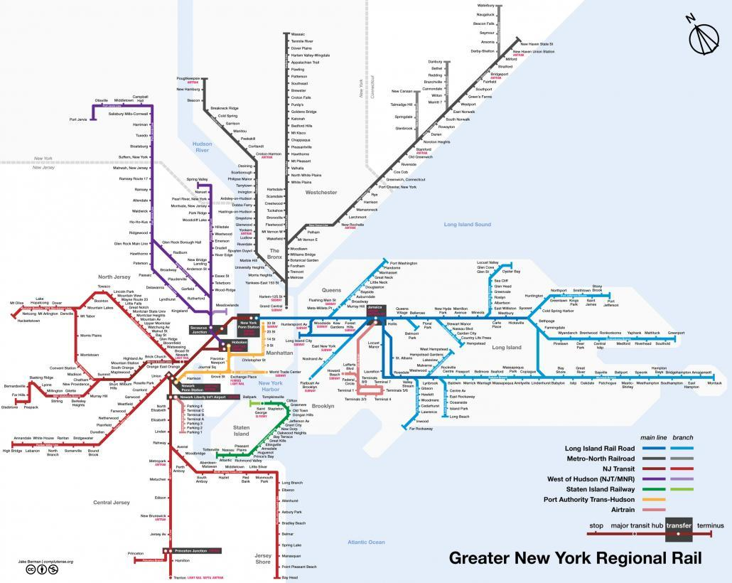 New York Commuter Rail Lines 2015