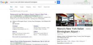 Marco's New York Italian Birmingham Airport Google Pin