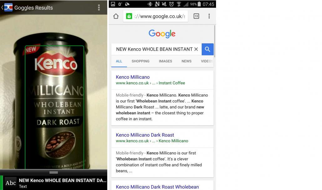 Google Goggles Android Search Results