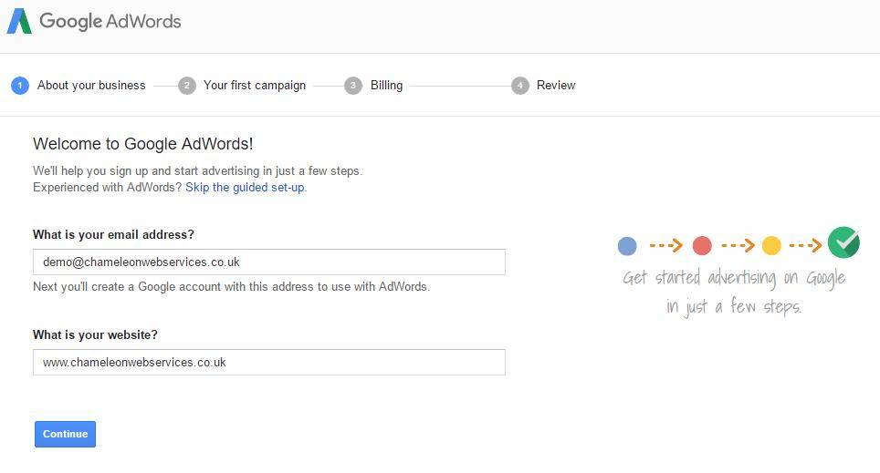 how to setup and adwords account