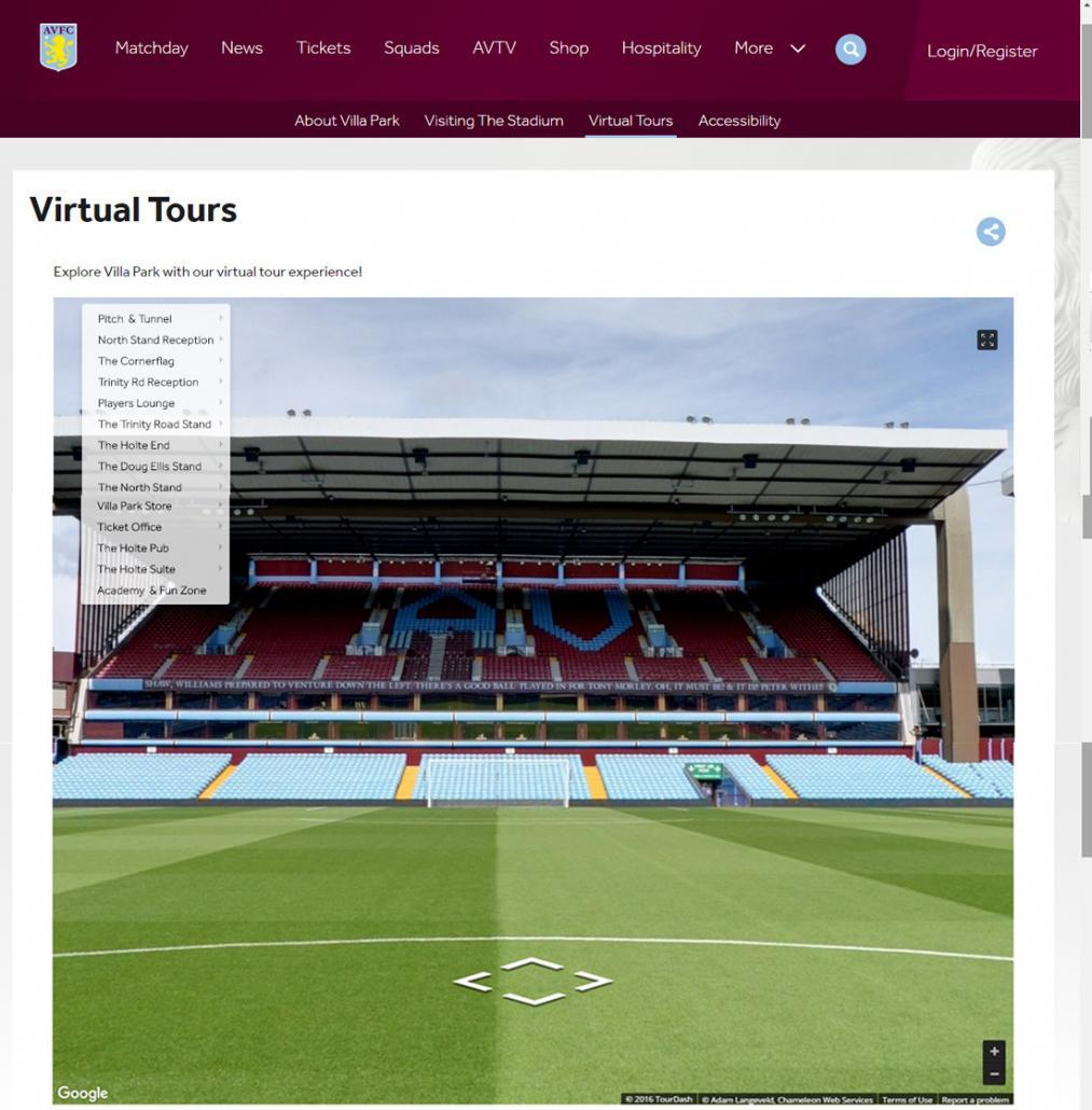 Aston Villa 360 Virtual Tour