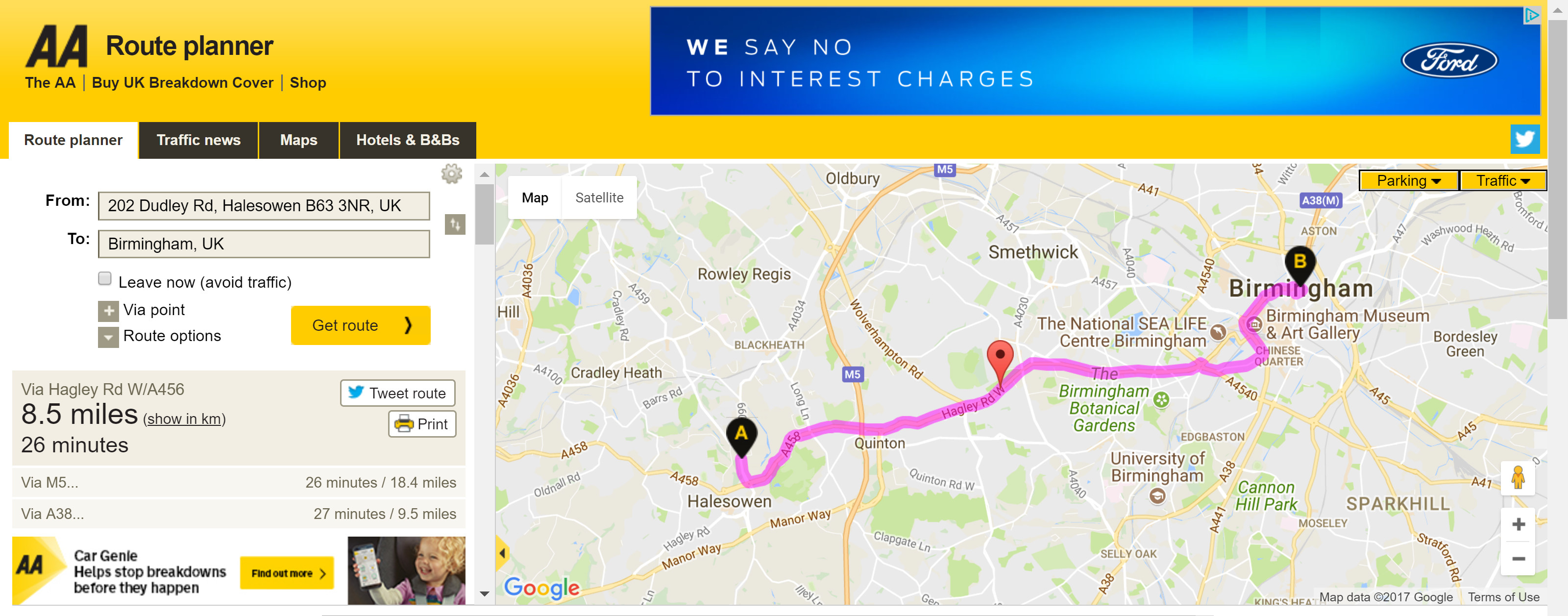 aa route planner image   Chameleon Web Services