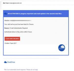 one drive scam email