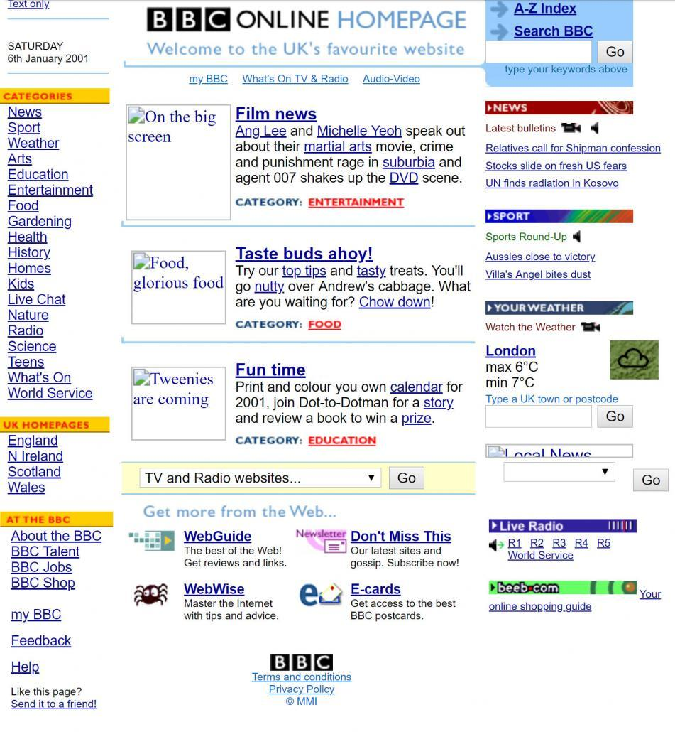BBC website in 2001