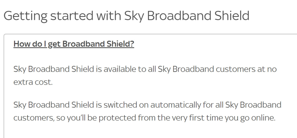 Sky Broadband Shield help