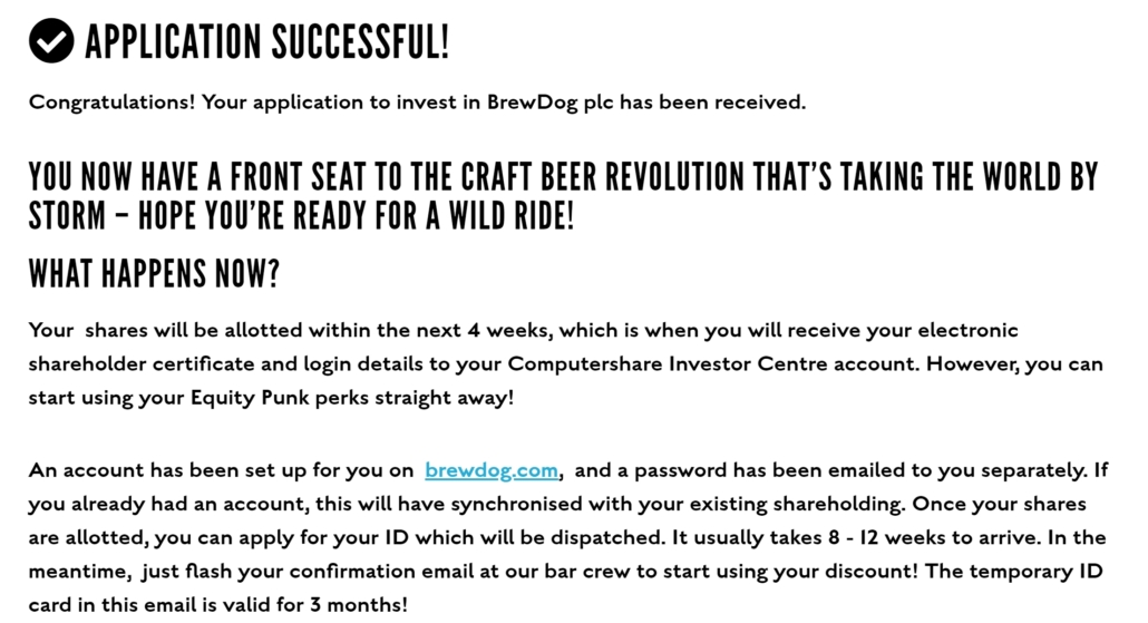 Brewdog equity for punks investment