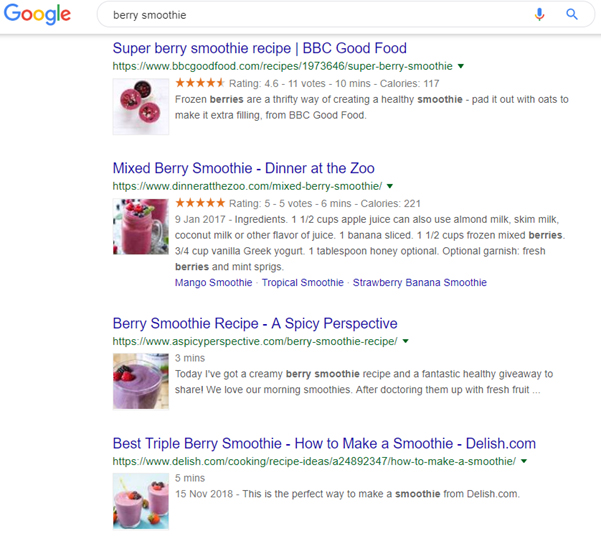 Google RankBrain Berry Smoothie example