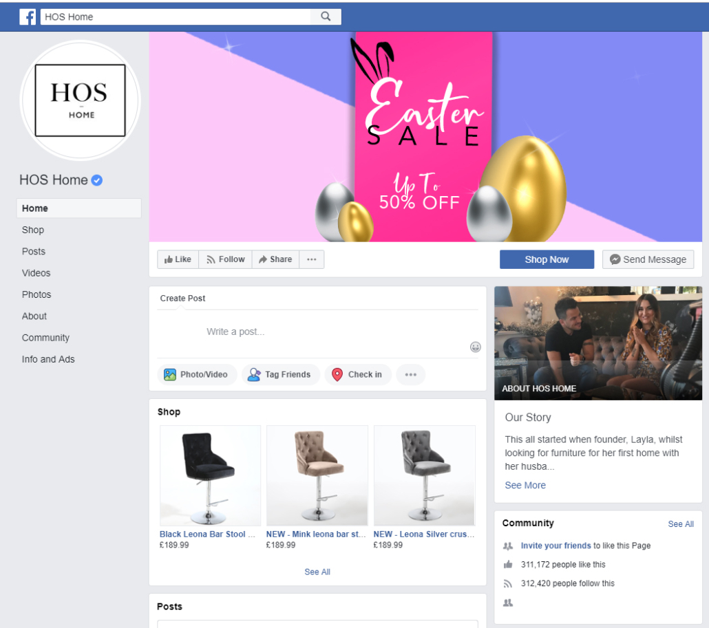 HOS Home Facebook page real